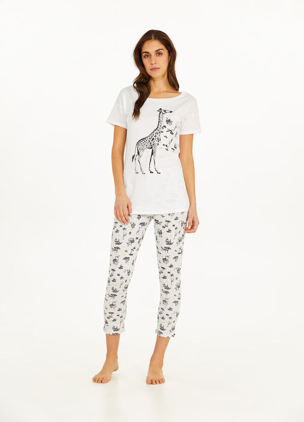 Cotton pyjamas with giraffe pattern