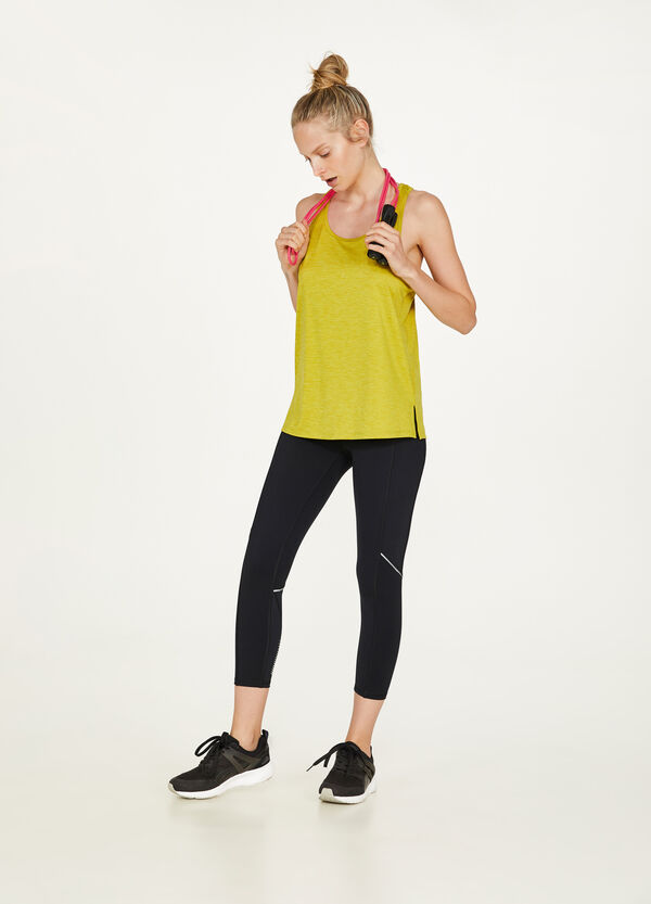 Striped stretch sports top with print