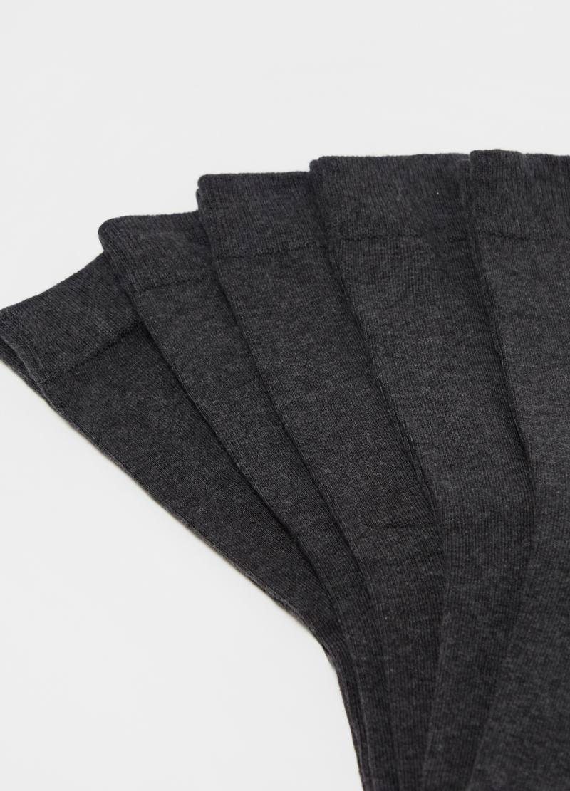 Set of five long socks in stretch cotton image number null