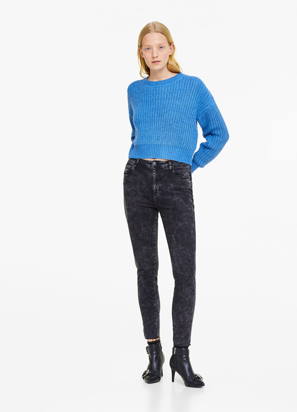 Skinny-fit mis-dyed jeans with high waist