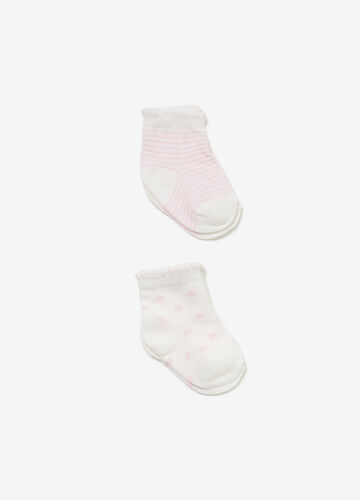Two-pair pack short hearts and stripes socks