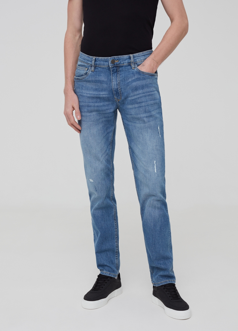Jeans slim fit stretch con strappi image number null