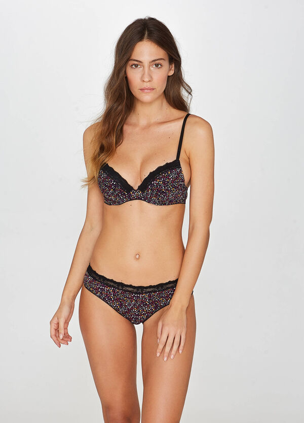 Push-up stretch floral bra