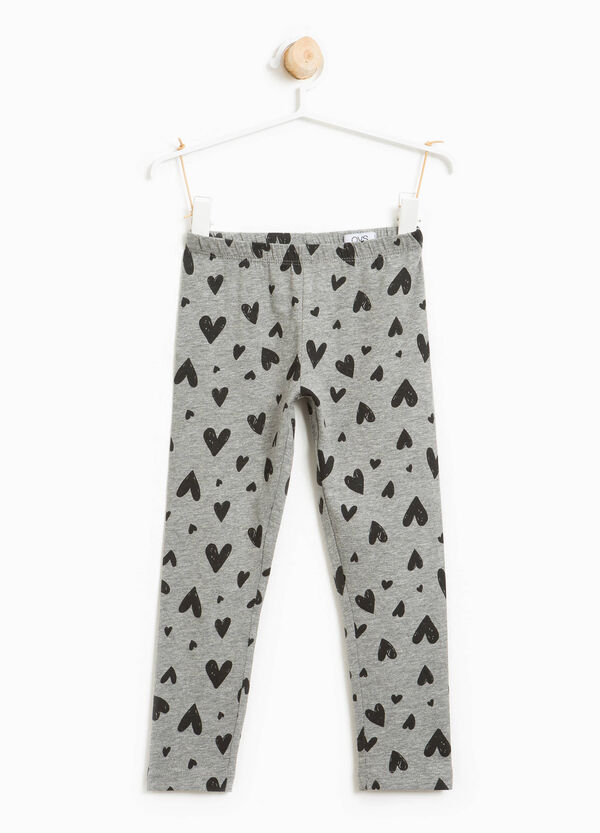 Leggings in stretch cotton with heart pattern | OVS