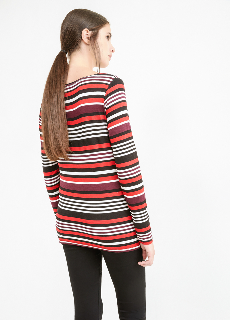 Striped T-shirt in stretch viscose image number null