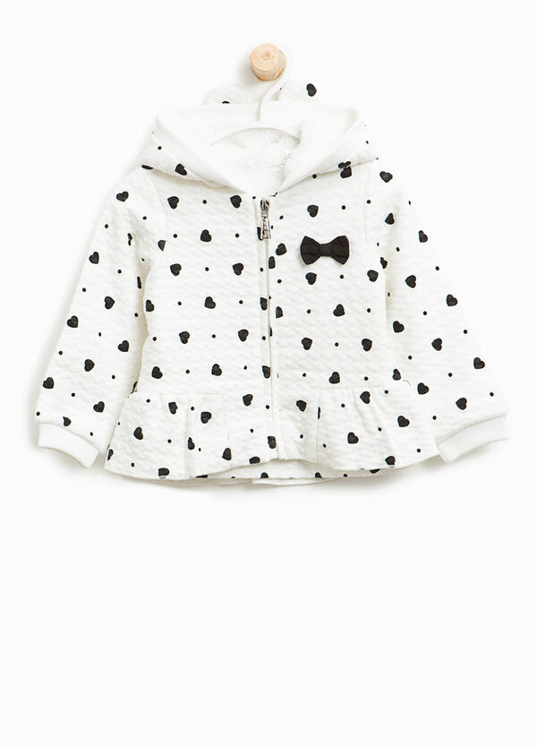 Jacquard jacket with hearts print