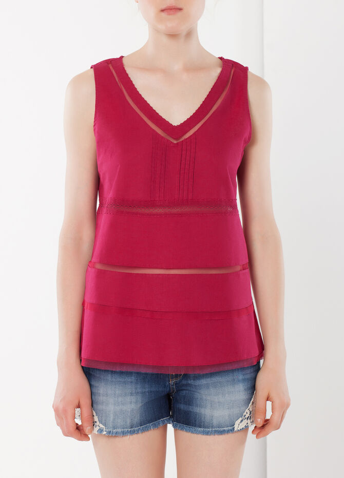Sleeveless T-shirt with sheer sections