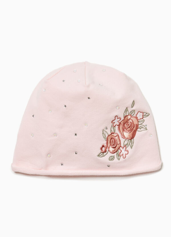 Beanie cap with diamantés and embroidery