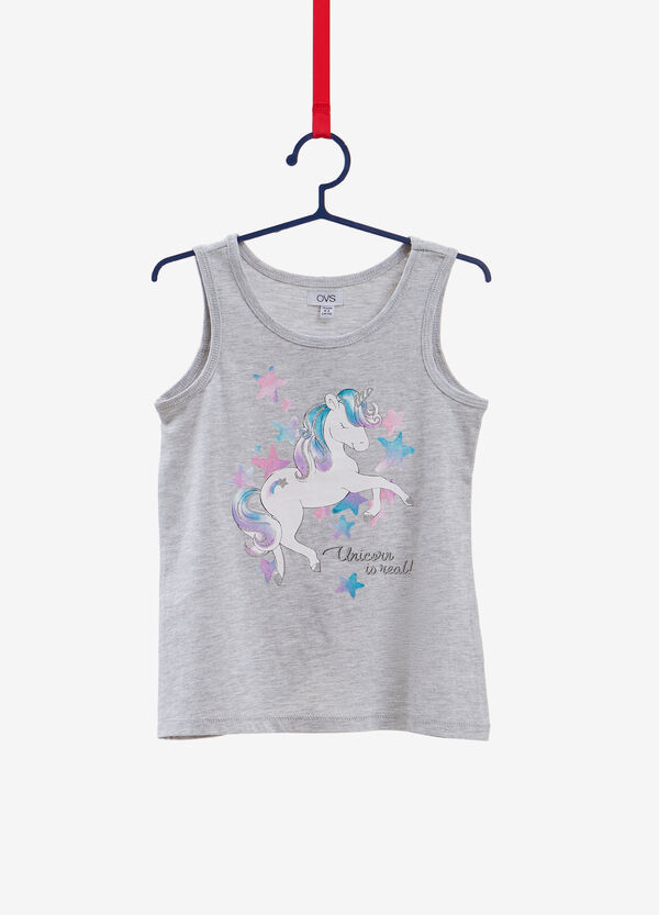 Cotton and viscose top with unicorn print