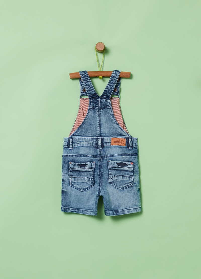 Denim dungarees with pockets image number null
