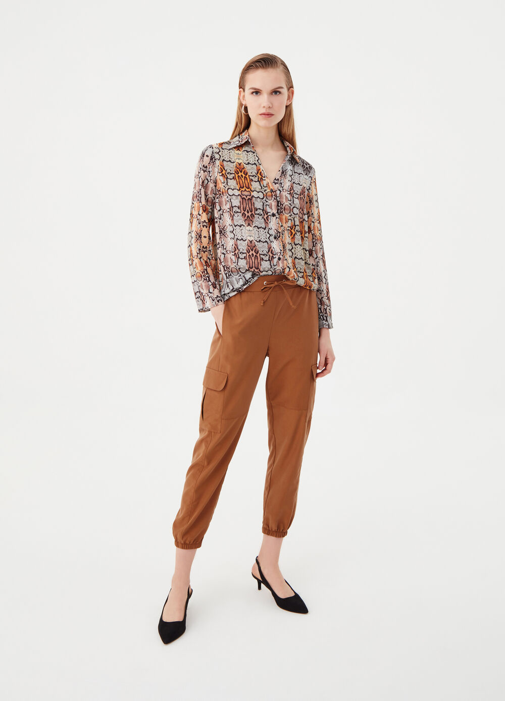 Cargo trousers with elasticated waist
