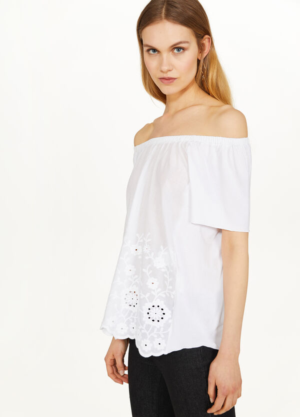 T-shirt in stretch viscose with drop shoulders