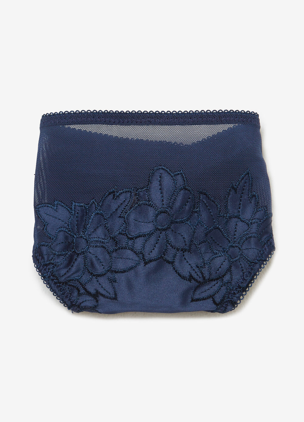 Stretch satin thong with floral embroidery