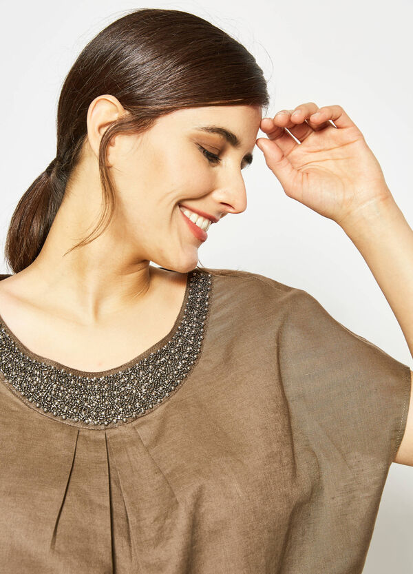 Curvy blouse in linen with beads | OVS