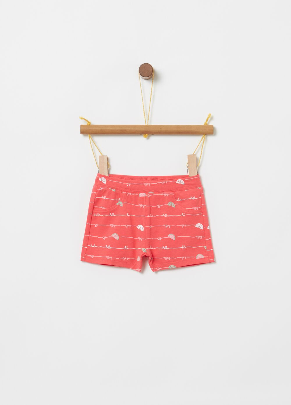 Shorts cotone stretch stampa angurie