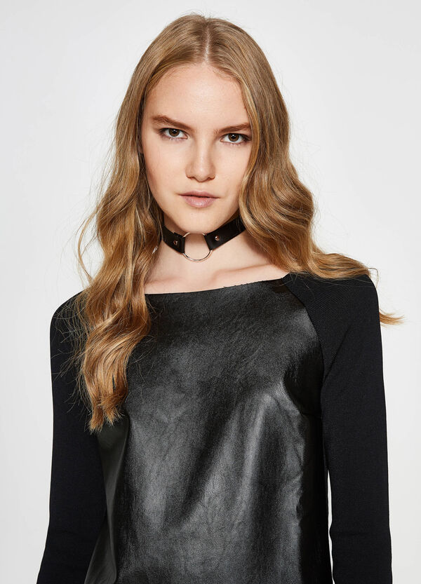 Shiny cotton and viscose pullover | OVS