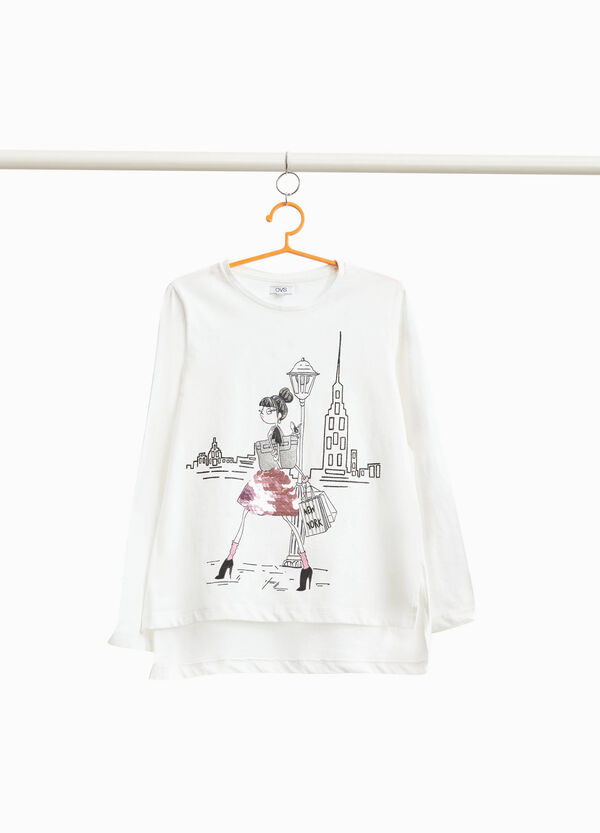 Girl print T-shirt with sequins