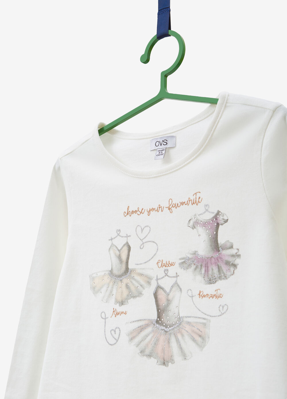 Cotton T-shirt with glitter print and diamantés