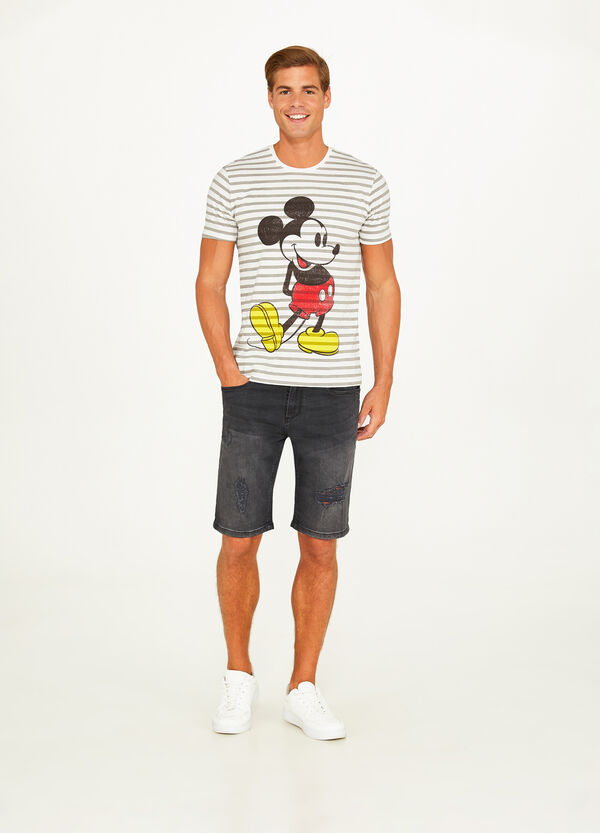 Mickey Mouse cotton T-shirt with stripes