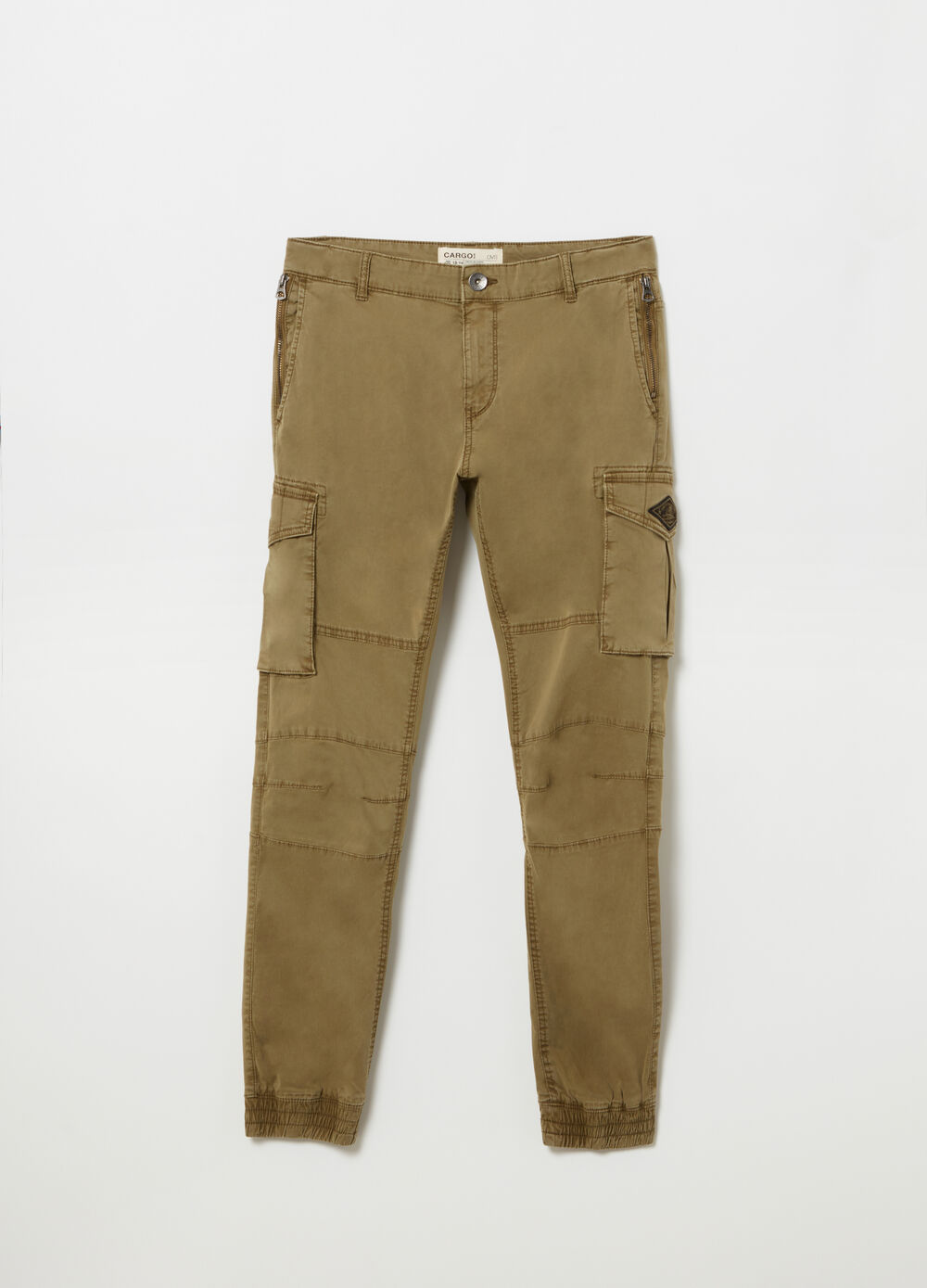 Twill cargo trousers with adjustable waist