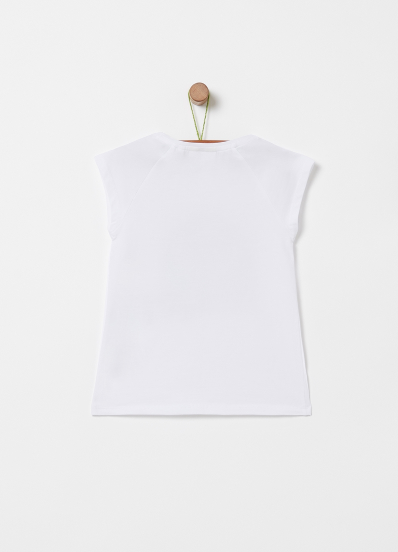 T-shirt with glitter print and diamantés image number null