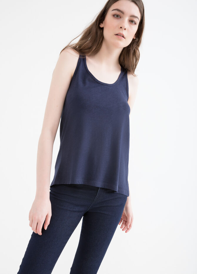Cotton and viscose top with inserts