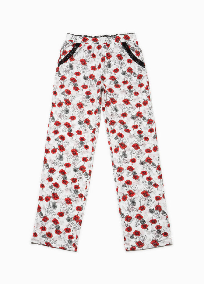Pyjama trousers with flower print