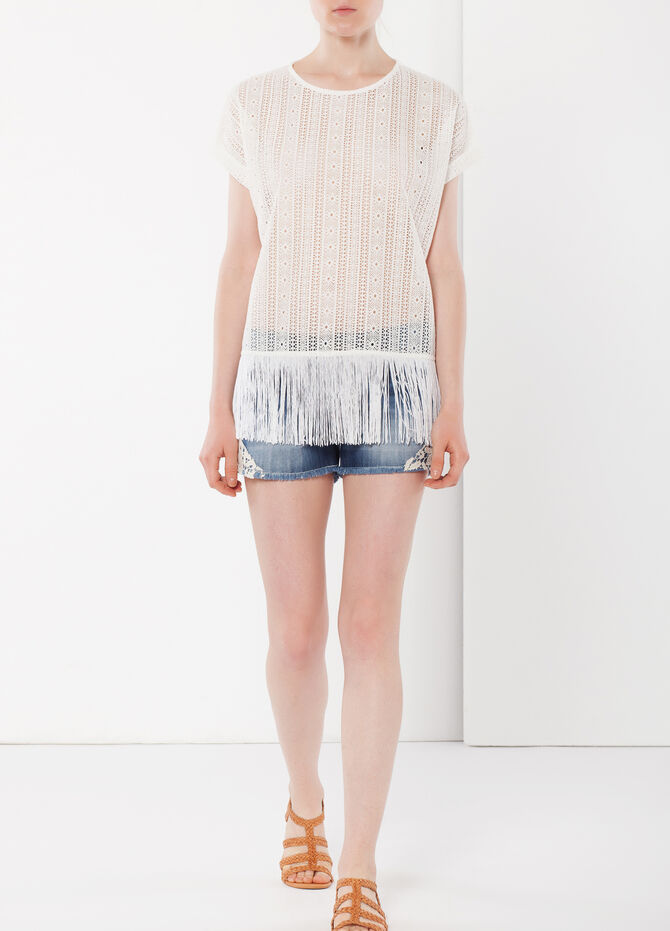 Mesh T-shirt with fringes