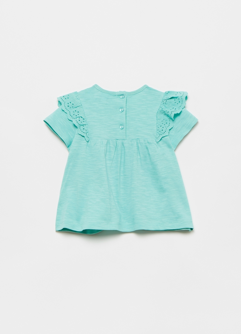 T-shirt with flounce and broderie anglaise applications image number null
