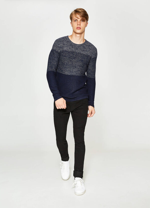 Striped cotton blend pullover