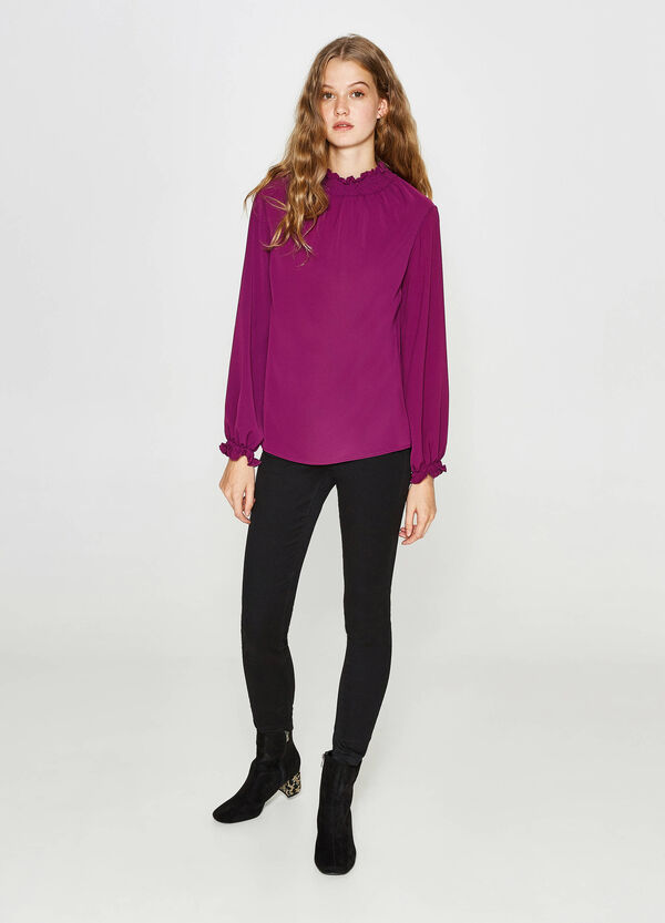 Stretch blouse with elasticated neckline