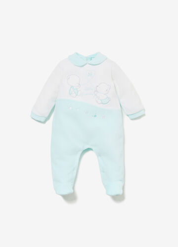 Two-tone romper suit with animal patch