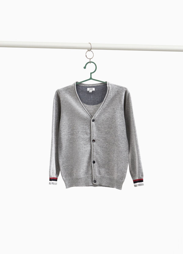 100% cotton cardigan with V neck