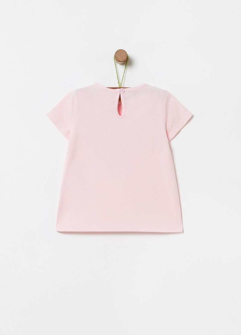Solid colour T-shirt with glitter print image number null