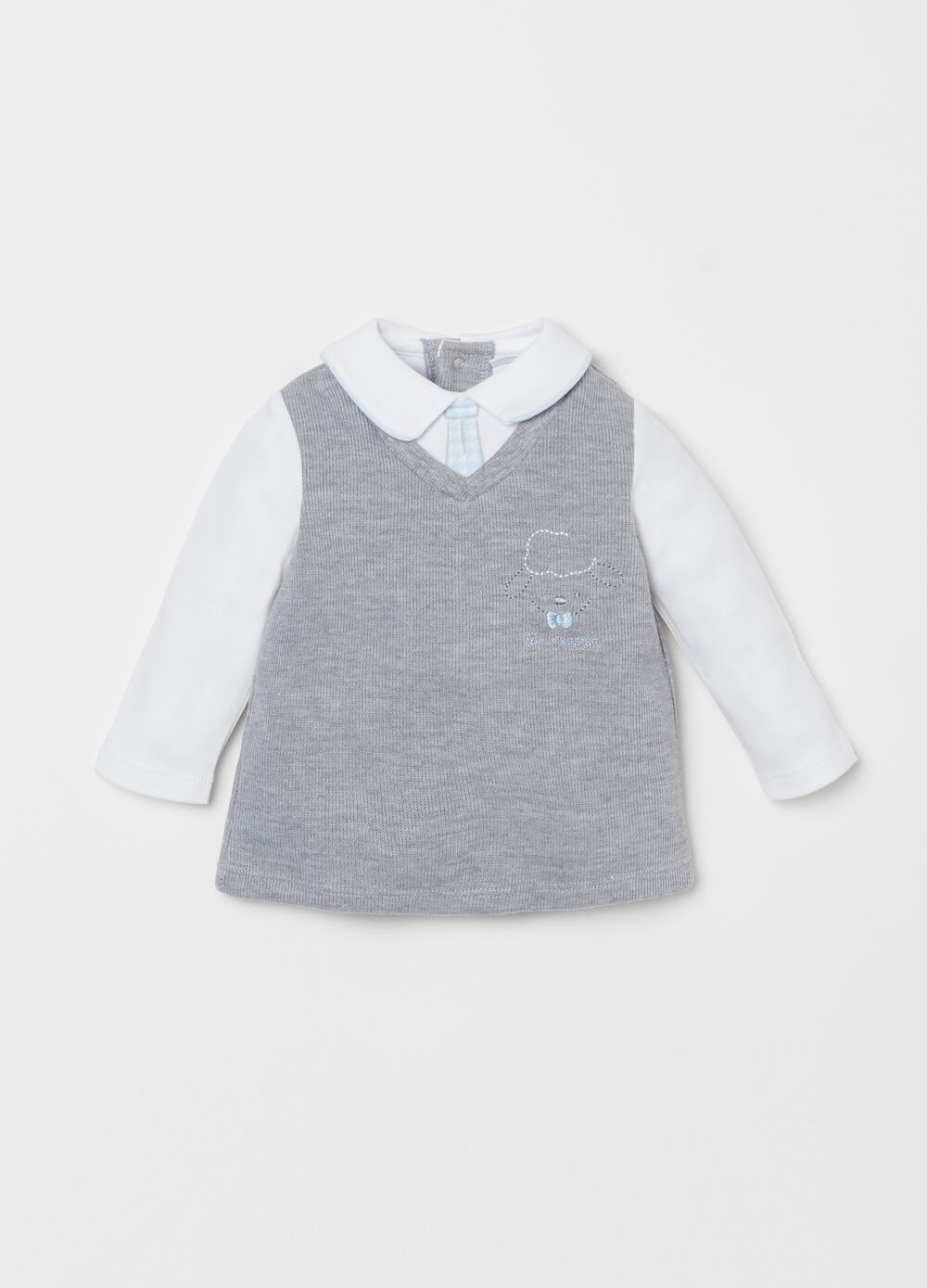 Long-sleeved T-shirt with gilet and embroidery
