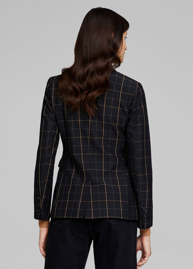 Single-breasted check blazer