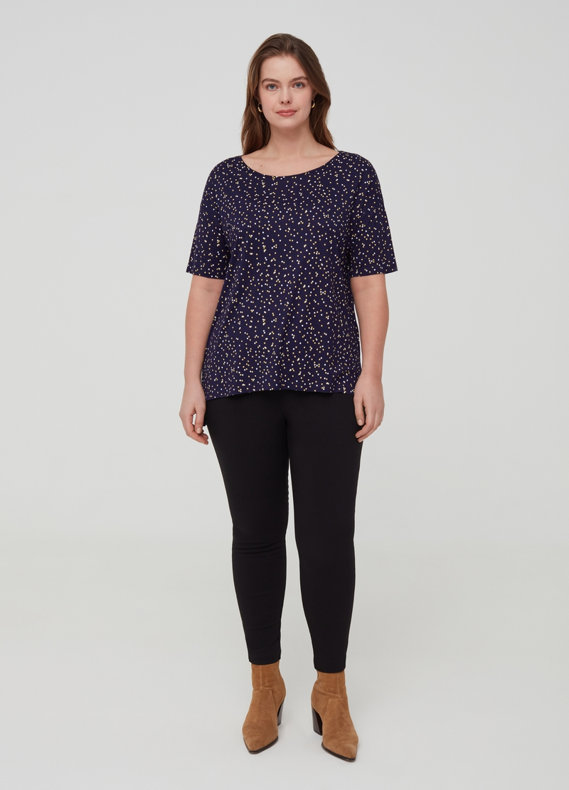 Curvy polka dot T-shirt in 100% viscose image number null