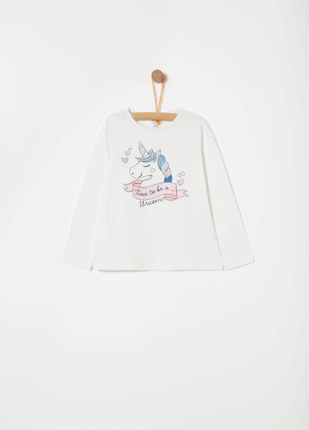 Jersey T-shirt with print and glitter details