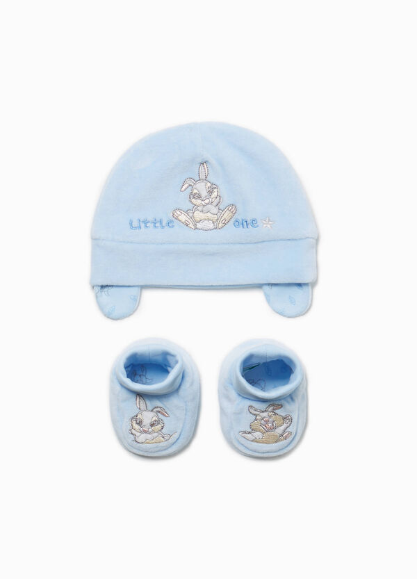 Set consisting of beanie cap and Thumper baby shoes