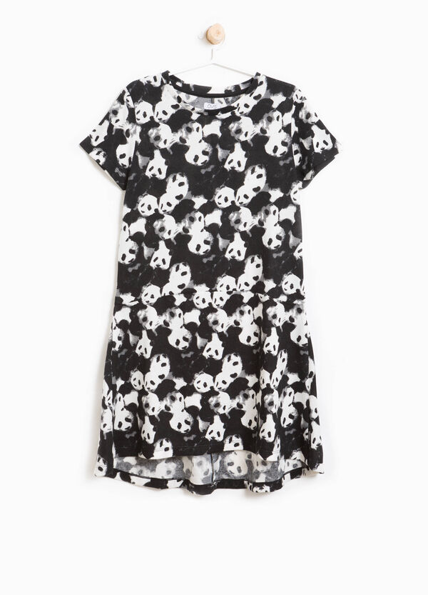 Panda pattern stretch dress