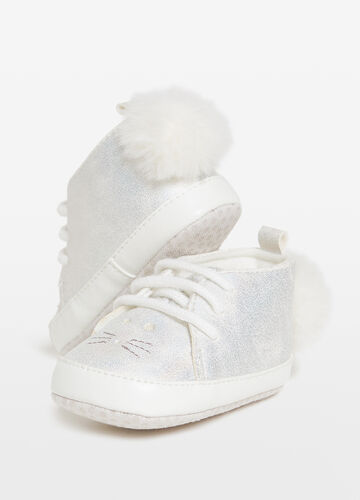 Shoes with animal embroidery and pompom