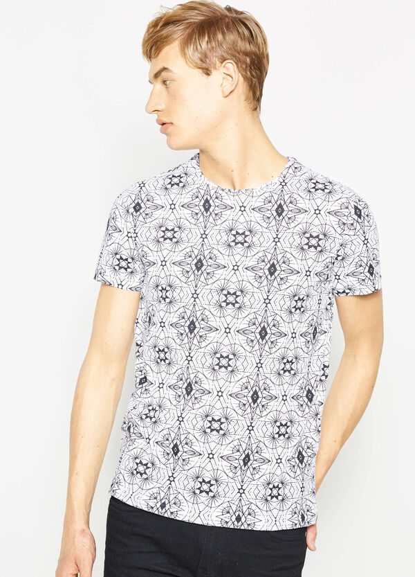Cotton T-shirt with all-over print | OVS