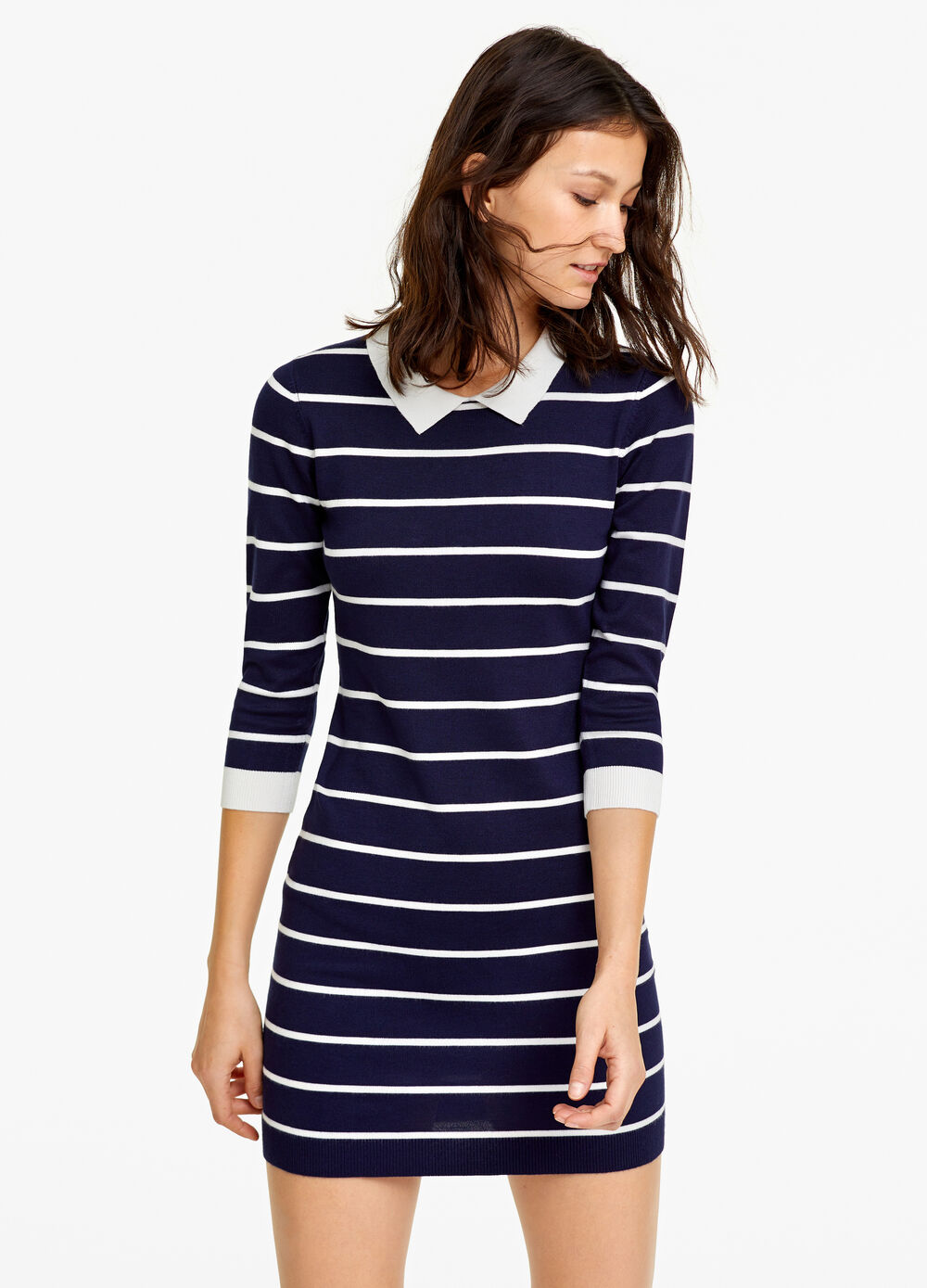 Striped knitted dress with collar