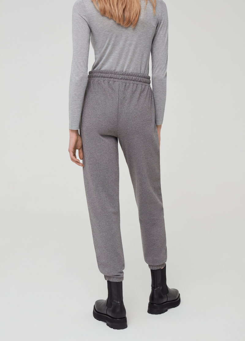 Joggers in felpa con lurex e coulisse image number null