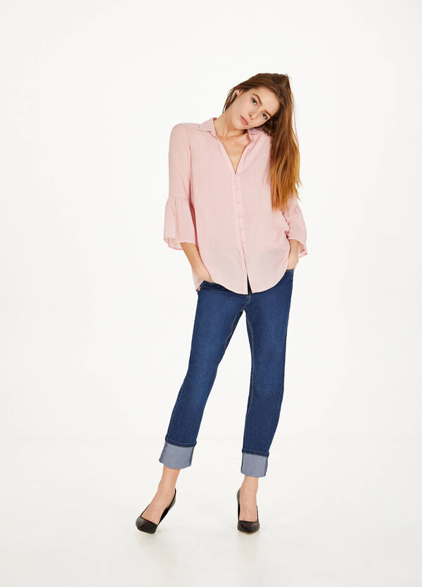 Jeans regular fit stretch con risvolto