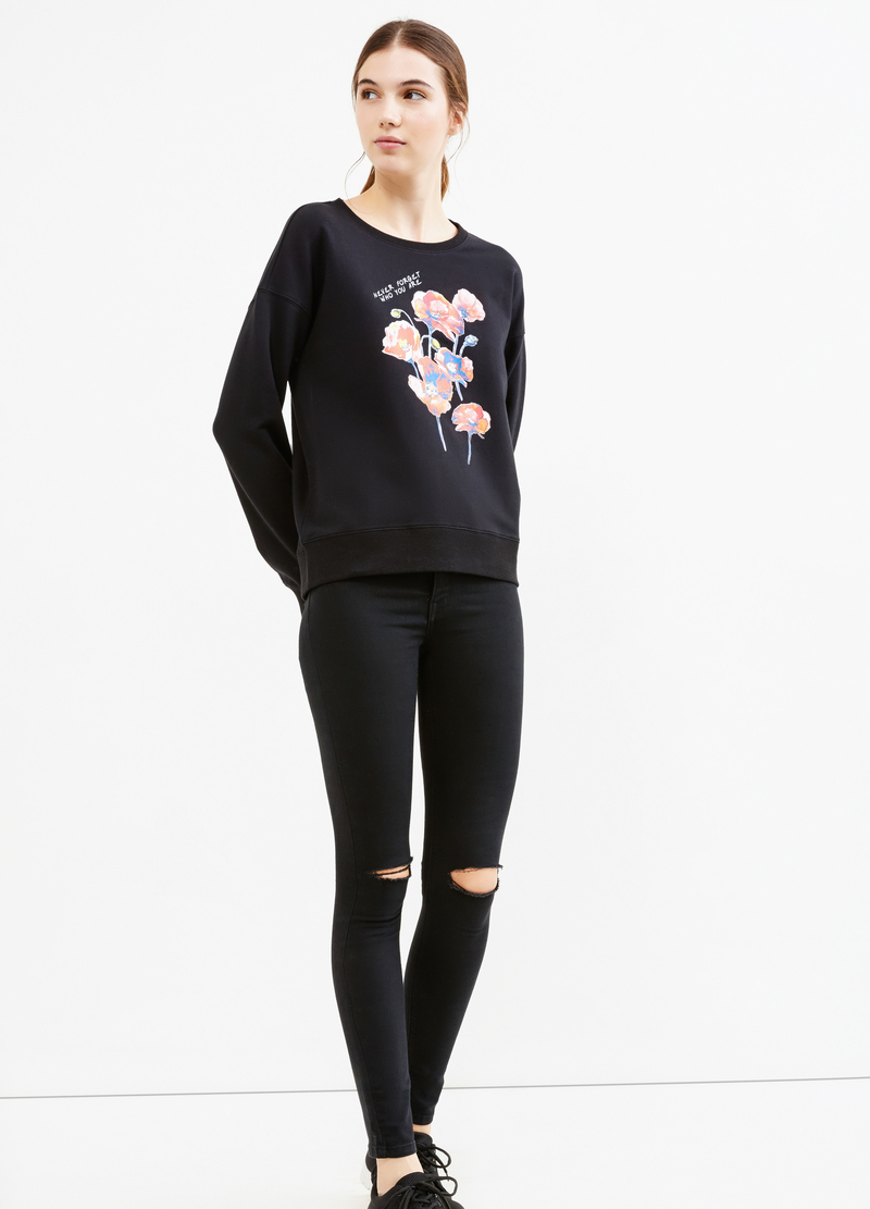Printed stretch cotton sweatshirt image number null