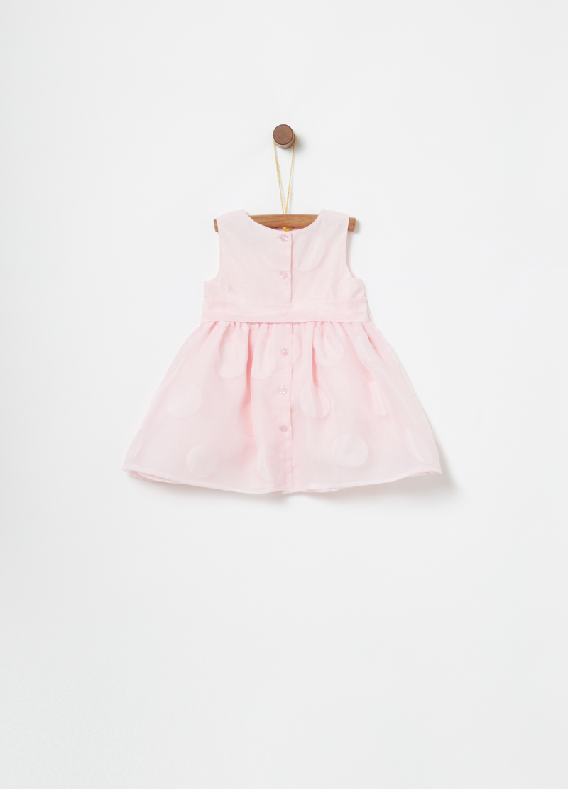 Organza dress with belt and polka dots image number null
