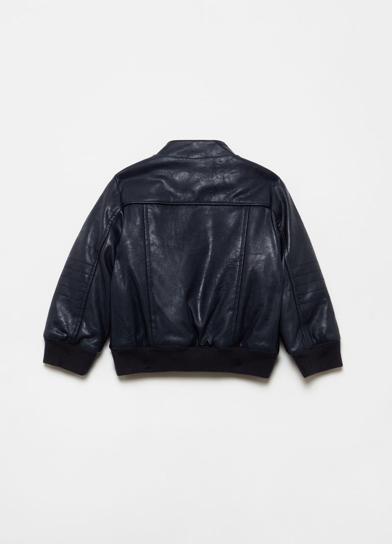 Full-zip leather-look bomber jacket image number null