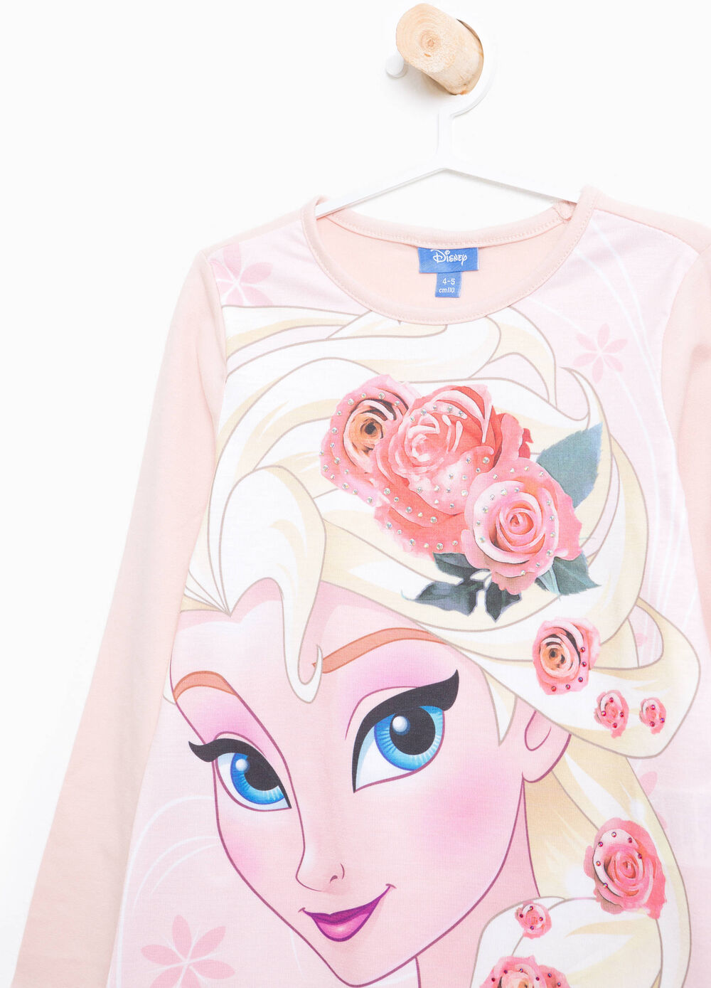 T-shirt in cotone stampa Frozen e strass