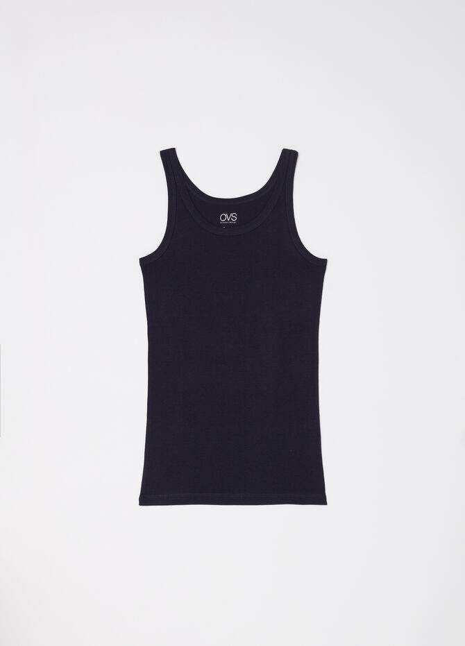 100% cotton racerback vest with ribbing